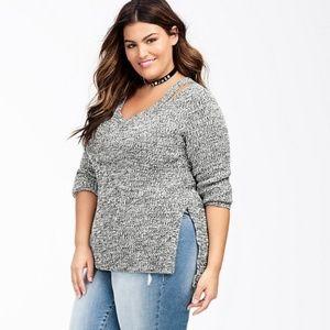 Torrid marled knit split neck sweater 1X // P21